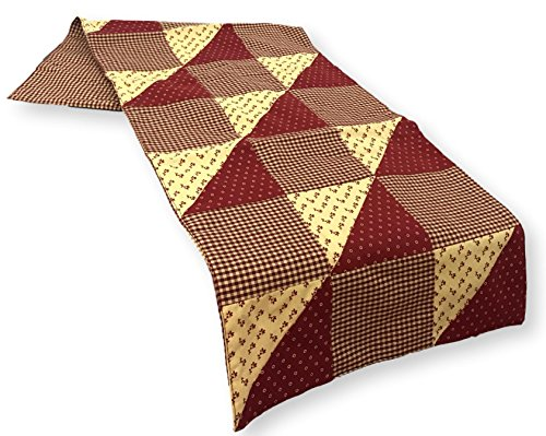 Park Designs Table Runner New Hope Quilted Gingham Earthtones All Cotton Brown Tan Natural 13 by 36