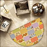 Nursery Semicircular Cushion Toys and Animals in a Checkered Background Teddy Bears Sheep Cats Duck Toys Entry Door Mat H 70.8'' xD 106.3'' Tan Multicolor
