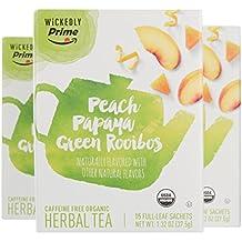 Wickedly Prime Organic Herbal Tea, Peach Papaya Green Rooibos Premium Tea Sachets, 15 Count (Pack of 3)