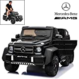 Licensed Mercedes Benz AMG G63 6x6 Electric Ride On Car for Kids with 2.4G Remote Control, 12V 6 Motors, Parent Seat, Openable Doors, Leather Seat, USB MP3 Player, LED Bottom and Wheel Light -Black