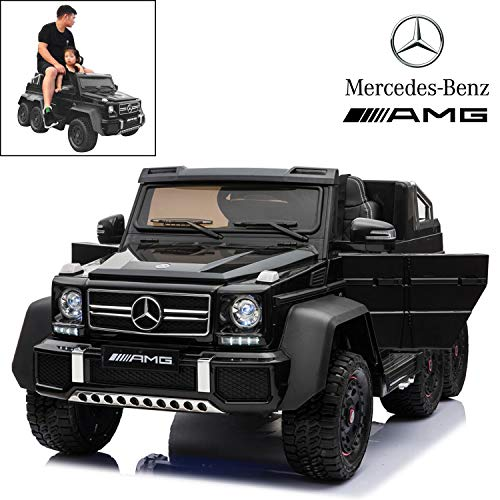 Licensed Mercedes Benz AMG G63 6x6 Electric Ride On Car for Kids with 2.4G Remote Control, 12V 6 Motors, Parent Seat, Openable Doors, Leather Seat, USB MP3 Player, LED Bottom and Wheel Light -Black (Car Licensed)