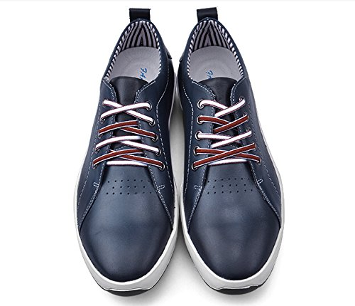 HAPPYSHOP(TM) Mens Leather Casual Lace Up Slip-on Driving Shoes Comfort Board Shoes Dark Blue GOPDyb0