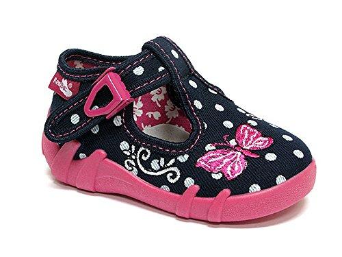 Made in EU - Zapatillas de estar por casa de algodón para niño Azul - dunkelblau/kariert