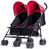 Costzon Twin Ultralight Stroller, Foldable Double Umbrella Stroller (Scarlet)