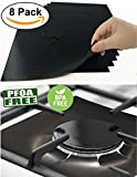heat diffuser glass cooktop - 8 PCS Gas Range Protectors, Cuttable Black Stovetop Burner Protector Liner Cover Cleaners 0.2 mm Thickness, Non-Stick, Dishwasher Safe, Easy to Clean for Kitchen Cooking-FDA Approved