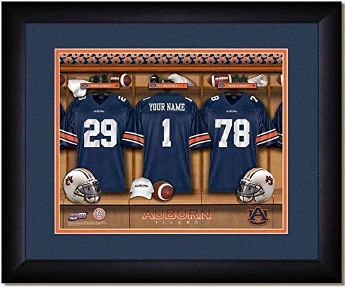 Auburn Tigers University Football Team Locker Room Personalized Jersey Officially Licensed NCAA Sports Photo 11 x 14 Print
