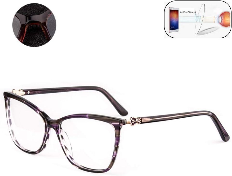 HQMGLASSES Clásicos Anti-Azul Claro Gafas de Lectura Grandes del Marco de Las Mujeres, de Alta definición de la Lente asférica Gafas de protección radiológica de dioptría +1,0 a +3,0,Púrpura,+2.5