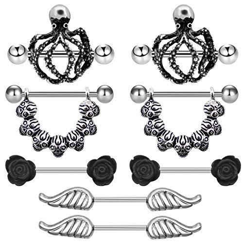FECTAS Nipple Rings 316L Shields Stainless Steel Octopus Nipple Piercing Silver Nipple Bar Nipple Barbells Nipplerings 14G ()