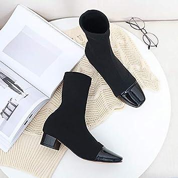 Shukun Botines Calcetines a Juego de Color de Cabeza Cuadrada Botas de Punto Botas elásticas de