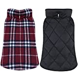 TPYQdirect Dog Jacket Waterproof Coat Windproof Pet Vest Warm Puppy Clothes Reversible British Style Plaid Winter Coats Cold Weather Jackets Sweater for Extra Large Dogs, Red XL Review