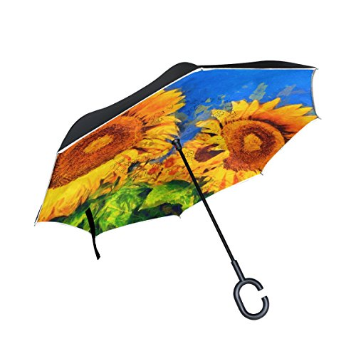 Reverse Glass Patterns Painting (Top Carpenter Double Layer Reverse Inverted Umbrellas Sunflowers Oil Painting With C-Shaped Handle for Car Outdoor)