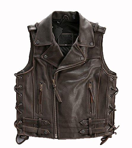メンズ レザー ベスト 本革 ライダースジャケット バイク ベスト 牛皮 ジャケット 袖なし 4色 B06XBS6D4P M|ブラウン ブラウン M