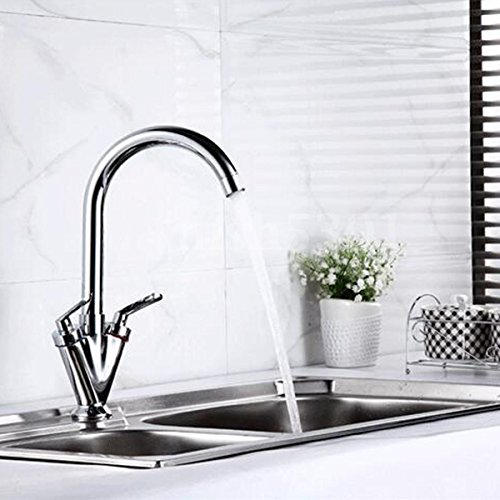 Kitchen Faucet, Kitchen Bathroom Mixer Sink Tap 2 Swivel Spout Brass Double Handle Chrome Faucet, 100% Brand new