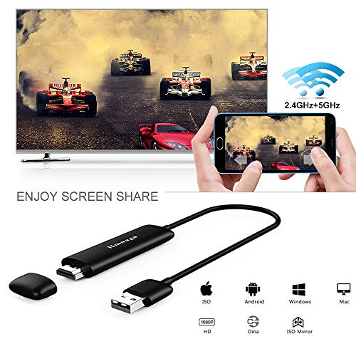 U2C WiFi Wireless Display Dongle 5G High Speed Full HD 1080P HDMI Screen Mirroring Mini Display Adapter Receiver Support Miracast/Airplar/ DLNA/WIDI for iOS/Android/ Mac OS/Win 8.1+ by U2C