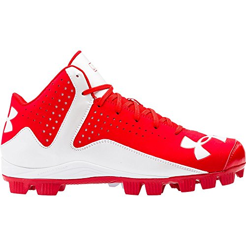 Under Armour Men's Leadoff Mid RM Baseball Cleats Red/White Size 10 M US