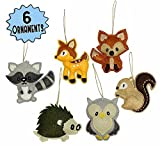 #4: My Forest Friends Christmas Ornament Set (6-Piece Set); Plush Holiday Animal Tree Decoration Set with Baby Woodland Creatures: Fox, Raccoon, Squirrel, Porcupine, Deer & Owl