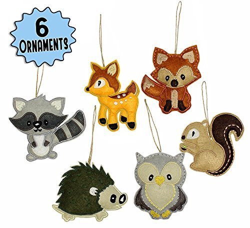 My Forest Friends Christmas Ornament Set (6-Piece Set); Plush Holiday Animal Tree Decoration Set with Baby Woodland Creatures: Fox, Raccoon, Squirrel, Porcupine, Deer & (Holiday Hanging Mobile)