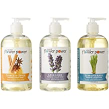Natural Flower Power - Natural Liquid Hand Soap Variety Pack (Citrus & Spice, Lavender, and Lemongrass), pH Balanced, Pure Essential Oils, Soft and Moisturizing, Sulfate Free - 12 Ounce (Pack of 3)