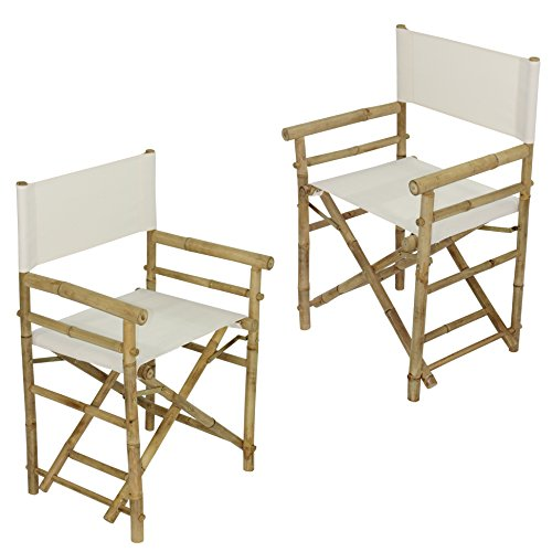 Zew Hand Crafted Foldable Bamboo Director's Chair with Treated Comfortable Canvas, Folding Chairs, White, Set of ()