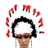 niceEshop(TM) Indian Feathers Headdress Native American Chief Head Dress for Adult and Kids Halloween Costumes Party, Black+White+Red 23x14inch