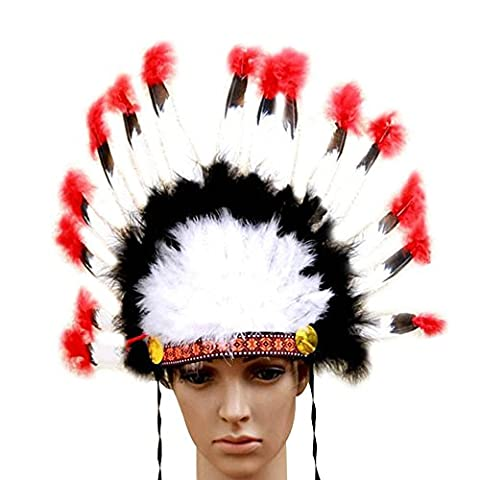 niceEshop(TM) Indian Feathers Headdress Native American Chief Head Dress for Adult and Kids Halloween Costumes Party, Black+White+Red - Native American Indian Feathers