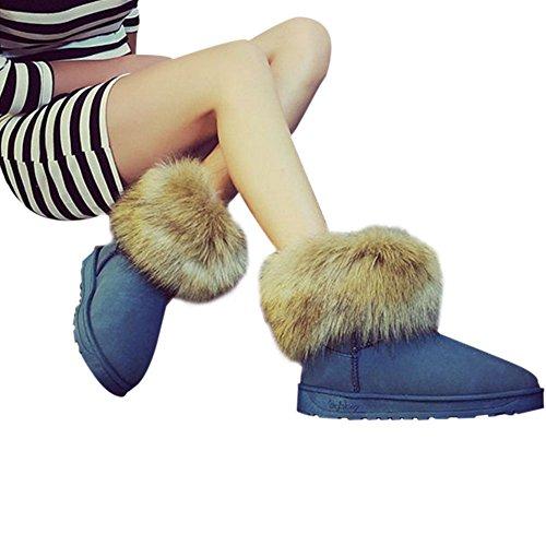 Hzjundasi Ladies Women Winter Snow Faux Fur Fluffy Ankle Boots Warm Comfy Casual Flat Shoe Blue fhnnseDAC