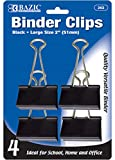 BAZIC Large 2'' (51mm) Black Binder Clip (4/Pack) 144 pcs SKU# 1931427MA