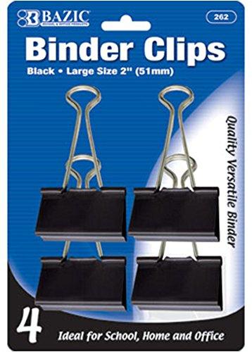 BAZIC Large 2'' (51mm) Black Binder Clip (4/Pack) 144 pcs SKU# 1931427MA
