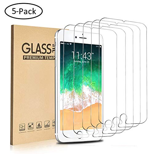 (EasySo [5 Pack] Screen Protector Compatible with iPhone 8 Plus/iPhone 7 Plus/iPhone 6S Plus/iPhone 6 Plus, 5.5 Inch, 0.26mm Tempered Glass Screen Protector, 3D Touch, Case Friendly, Bubble Free)