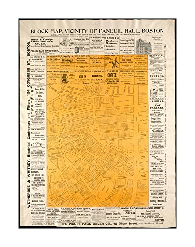 1897 Map Boston Block Map, vicinity of Faneuil Hall, Boston: embracing Custom House, Post Office Square, Fort Hill Square, & Chamber of Commerce Gives detailed location of business & - Hall Faneuil Location