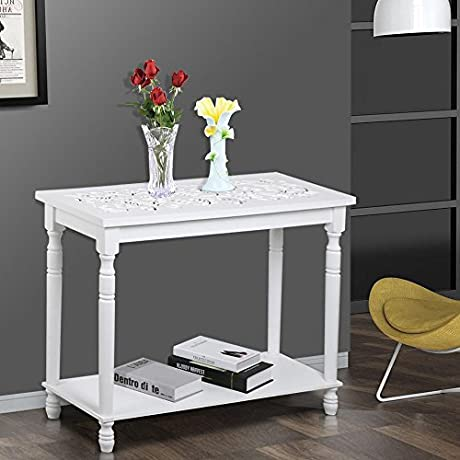 Smart Living Company Go2buy 29 Wooden Carved Top White Console Table