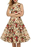 AOVCL Vintage 1950's Floral Spring Garden Party Picnic Dress Party Cocktail Dress