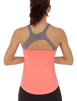 Prancing Leopard Mujer Yoga, Workout Top plathe Camiseta sin Mangas en algodón Bio - Fitness Tank con Sujetador Integrado: Amazon.es: Deportes y aire libre
