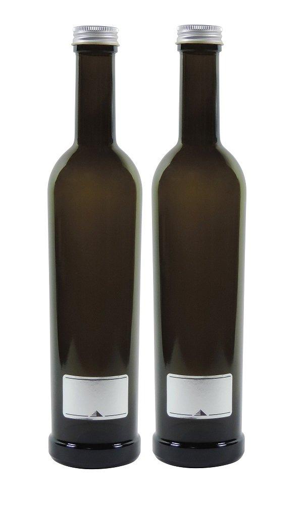 Viva-Haushaltswaren - 2 x Marrón Vidrio Botella 500 ml, vacías Incluso Para Rellenar Aceitera (Incluye 2 etiquetas etiquetas: Amazon.es: Hogar