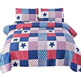 Wowelife Star Patchwork Comforter Blue and Red Pattern Patchwork Quilts 3 Pieces Bedspreads Queen Size 100 Percent Cotton (Star, Queen)