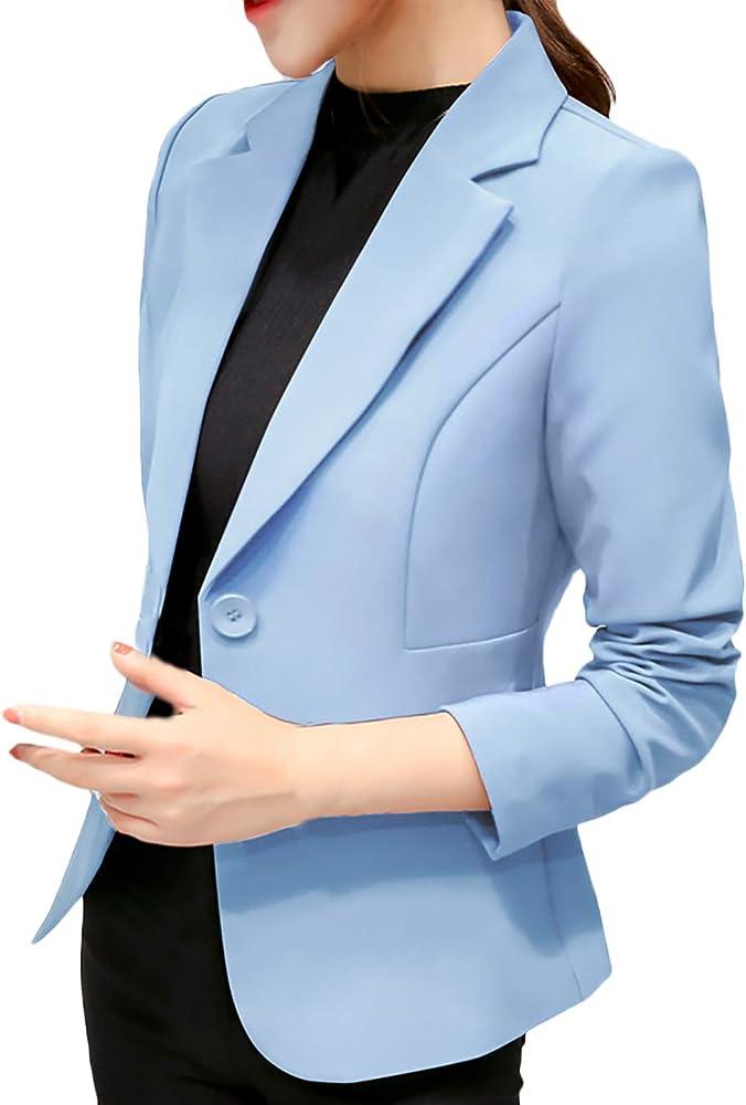 Camisa Mujer Primavera Otoño Moda Informales Oficina Negocios Blazer Basic Elegantes Manga Larga Slim Fit De Solapa con Botón Chaqueta De Traje Corto Abrigos Ropa (Color : Azul Claro, Size : S):