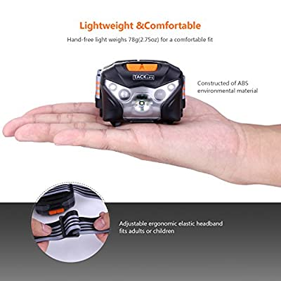 LED Headlamp, Tacklife LLH2A USB Rechargeable Headlamp Flashlight - Sensitive Control & Waterproof & Adjustable & 6 Modes LED Headlight, 1020mah Lithium Battery Included