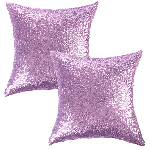 Kevin Textile Sequins Decor Cushion Cover Sparkling Hand Made Throw Square Pillow Case Protector for Sofa, 18