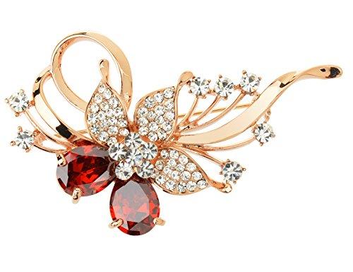 Tagoo Crystal Dragonfly Pin Brooch Gold Plated Swarovski Party&Wedding(Red) ()