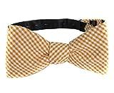 FBTC-101 - Cotton Seersucker Self Tie Bow Tie - Orange - White