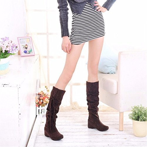 The high boots boots fringed winter in size Brown of increase scrub students fr8wf