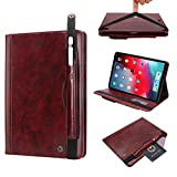 12.9 Inch iPad Pro Case, YiMiky Premium PU Leather Cover Flip Folio Stand Case Protection Cover Wallet Pocket Case with Pencil Holder Light 12.9 Inch Sleeve Cover for iPad Pro 12.9 - Wine Red