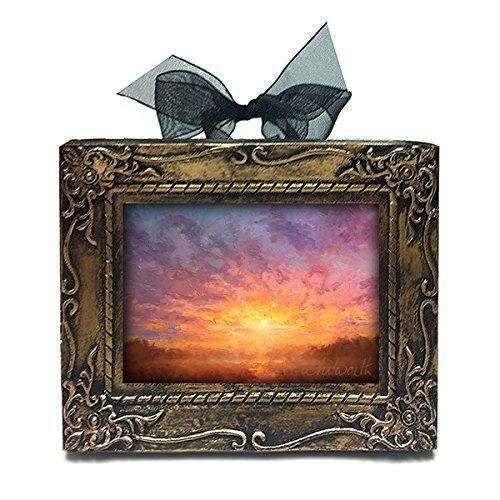 Tiny Framed - Mini Impressionistic Sunrise Sky Wall Art Home Decor Painting Antique Style Christmas Ornament Gift