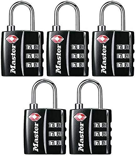 Master Lock Padlock 4680DBLK Wide Set Your Own Combination TSA-Accepted Luggage Lock 1-3//16 in