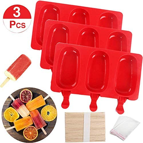 BAKHUK 3pcs Silicone Popsicle Mold with Lid, 3 Cavities Ice Pop Mold with 60 Wooden Sticks and 100 Packing Bags