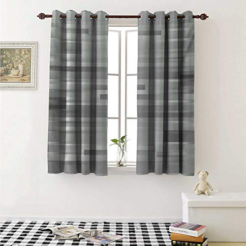Modern Blackout Draperies for Bedroom Futuristic Striped Web Forms Artistic Contemporary Graphic Fusion Artwork Print Curtains Kitchen Valance W72 x L63 Inch Silver Grey