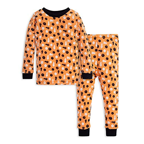 (Burt's Bees Baby Unisex Baby Pajamas, Tee and Pant 2-Piece PJ Set, 100% Organic Cotton, Stamped Pumpkins, 12 Months)