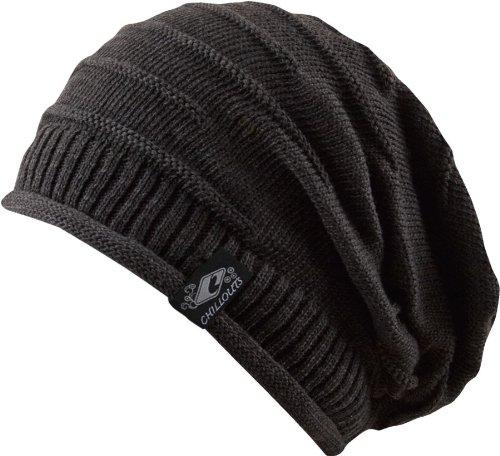 Long Beanie Cap Grau - Trendy Strickmütze, Damen Herren unisex Strick Mütze, 2013, Skimütze, Winter Mütze