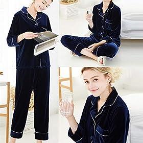 DaoAg-Conjunto-de-2-piezas-de-terciopelo-para-mujer-manga-larga-bolsillo-superior-pijamas-ropa-de-dormir