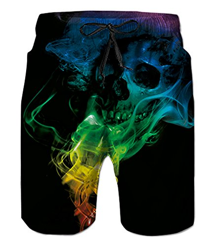 (Belovecol Men's Swimsuits Skull Swim Trunks Cool Casual Quick Dry Swim Trunks Graphic Black XL)